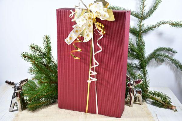 Geschenkkarton bordeaux, weihnachtlich