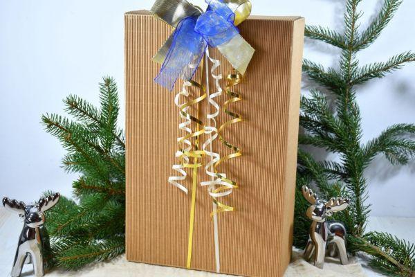 Geschenkkarton braun, weihnachtlich