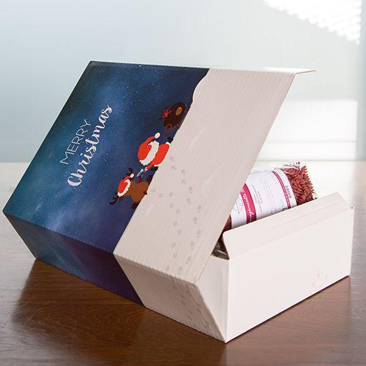 """Geschenkkarton """"Rentier + Santa"""", befüllt mit 6x Nudeln"""